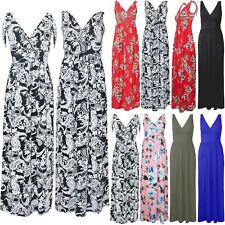Womens Ladies Front V Neck Printed Wrap Over Strappy Tie Knot V Neck Maxi Dress