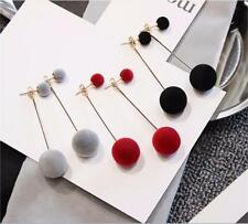 Fashion Pompom Studs Ball Cute Enamel Long Tassel Drop Earrings Women Rhinestone