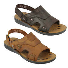 Mens Genuine Leather Sandals Tan Brown Mules Cut out Style Back Strap Slippers