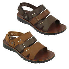Mens Real Leather Sandals Gladiator Open Toe Back Strap Beach Walking Slippers