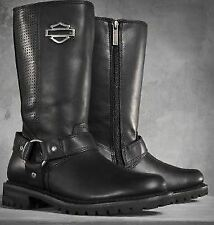 """Harley Davidson New Ladies Lily 11.5"""" Harness Boot Black Leather Zip Biker Boots"""