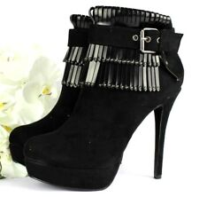 New Ladies Platform Ankle Boots High Heels Shoes Faux Suede Zip Booties Size 3-8