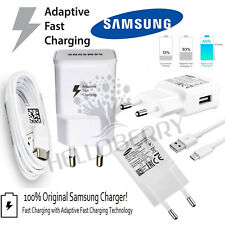 Genuine Samsung EU USB Fast Charger Adapter Plug EP-TA20EWE  & Data Cable White
