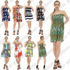 Ladies Abstract Stripe Printed Sheering Boobtube Ruched Strapless Mini Dress Top
