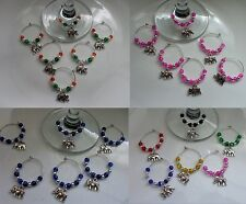 Elephant Wine Glass Charms x 6  Indian Lucky Pink Blue Multi + Free Gift Bag