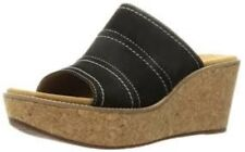 Clarks Ladies Wedge Sandals Aisley Lily Black Nubuck UK 4