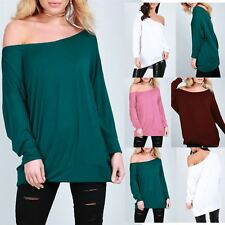 New Ladies Womens Plain Baggy Oversized 3/4 Cuffed Sleeve Round Neck T Shirt Top