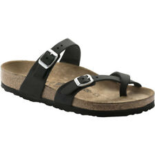 Birkenstock Mayari Oiled Leather Femme Chaussures Tongs - Black Toutes Tailles