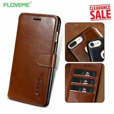 FLOVEME Genuine Leather Wallet Case For iPhone 8 7 6 6s Luxury Flip Card Slot