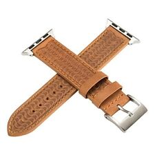 Carved Apple Watch Leather Band 38mm Strap Series 3 2 1 Retro Brown Bracelet NEW
