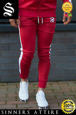 SINNERS Red Track Poly Joggers - Sinners Attire Gym Tracksuit Joggers