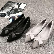 Womens Bow Pointed Toe Flat Work Office Ballerina Dolly Pumps Boat Ballet Shoes