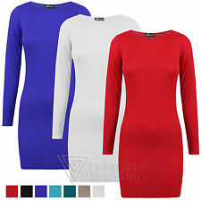 Ladies Mini Dress Long Sleeve Jersey Top Plain Simple Stretchy Blouse Casual