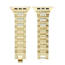 Luxury Rhinestone Apple Watch Band 38mm Stainless Steel Clasp Series 3 2 1 Gold