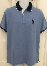 POLO RALPH LAUREN Light Heather Blue Custom Slim Fit T Big Pony Shirt BNWT