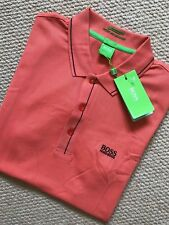 "HUGO BOSS GREEN LABEL ORANGE SLIM ""PAULE"" GOLF POLO SHIRT TOP - MEDIUM  NEW TAGS"
