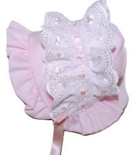Baby Girls Pretty Traditional Bonnet Style Broderie Anglaise Trim Pink Sun Hat