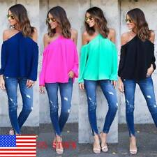 US Sexy Womens Off Shoulder Chiffon T-Shirt Ladies Summer Casual Tops Blouse