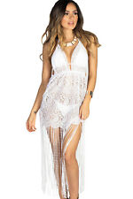 New Sexy White Lace Fringe Halter Cover Up Beach Dress 8 10 12 14 UK