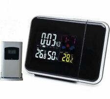 New Digital LCD Projection Alarm Clock Weather Station Snooze Led Display Color