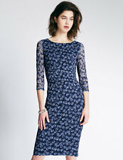 New M&S Per Una Floral Lace Blue Dress Sz UK 10 & 12
