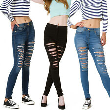 WOMENS LADIES HIGH WAISTED SKINNY JEANS RIPPED JEGGINGS SIZE 6 8 10 12 14 16 18