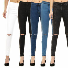 WOMENS HIGH WAISTED SKINNY JEANS RIPPED LADIES JEGGINGS SIZE 6 8 10 12 14 16 18