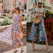 ZARA NEW S/S 2018. BLUE JUMPSUIT DRESS WITH FLORAL PRINT. REF 7768/233.