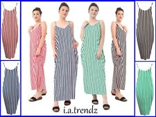 New Women's Ladies Stripe Strappy Maxi Dress  (Four Colours) All Size