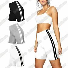 Ladies Side Double Stripe Active Gym Cotton Cycling Shorts Tights Summer Pants