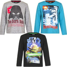 Neuf Maillot manches longues garçons STAR WARS pull gris turquoise 104 116 128
