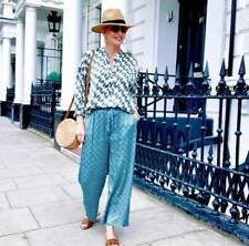 ZARA NEW PRINTED FLOWING CULOTTES TROUSERS BUE ELASTIC CROPPED SIZE XS-XL
