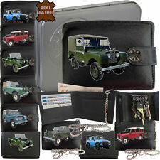 Landrover Series Men Wallet Leather Land Rover Gift RFID Chain Keyring TIN BOX