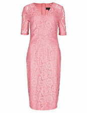 New M&S Per Una Speziale Pink Lace Floral Dress Sz UK 12 & 14