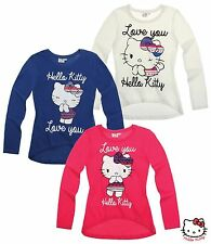 NEUF pull pullover Maillot manches longues hello kitty bleu rose blanc 104 116