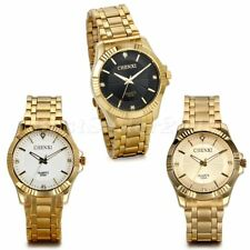 Luxus Herren Goldton Edelstahlband Quartz Watch Business Armbanduhren