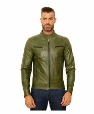 Giacca in pelle uomo HAMILTON • colore verde • Giacca in pelle pull up effetto v