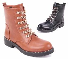 WOMENS LADIES STUDDED CHAIN LOW HEEL BIKER PUNK ANKLE BOOTS 3-8