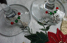 Christmas Wine Glass Charms Xmas Tree Snowflake or Mix 4 6 8 or 10 + Gift Bag