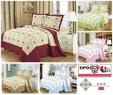 100% Cotton Embroidered BEDSPREAD Quilted Comforter Bed Throw Duvet Pillow Cases