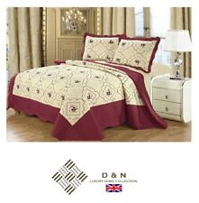 100% Cotton Embroidered BEDSPREAD SET Quilted Comforter 2x Pillow Cases MAROON