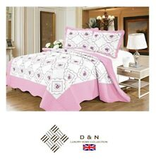 100% Cotton Embroidered BEDSPREAD SET Quilted Comforter 2x Pillow Cases PINK