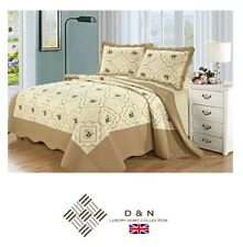 100% Cotton Embroidered BEDSPREAD SET Quilted Comforter 2x Pillow Cases BEIGE