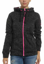 SUPERDRY DONNA ZIP STORM COLORE POP Ziphood Carbone marna Fluro Fucsia