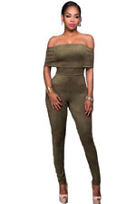 New Sexy Ladies Off Shoulder Olive Green Faux Suede Jumpsuit Size 8 10 12 14 UK