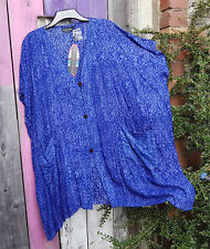 ANGEL CIRCLE DARK VIOLET/BLUE BATIK VISCOSE SILK OVERSIZED KIMONO JACKET BNWT