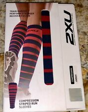 2XU Compression Striped Run Calf Sleeve Pair Navy Blue Red Running Unisex XS M
