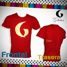 Camiseta surf skate Glutier. surfskate T-shirt red yellow