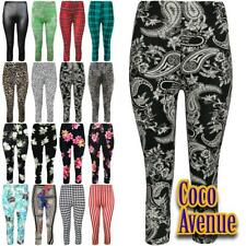 New Ladies Printed 3/4 Length Cropped Leggings Gym Stretchy Skinny Capri Pants