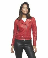 Giacca in pelle donna CHIODO • colore rosso • giacca biker in pelle pull up con